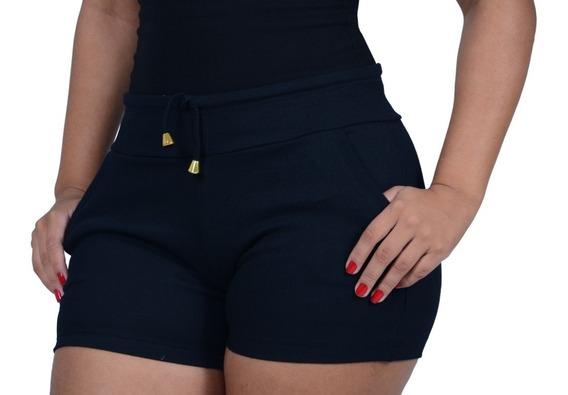 Combo 5 Short Feminino Cintura Auta Tipo Moleom Ribana