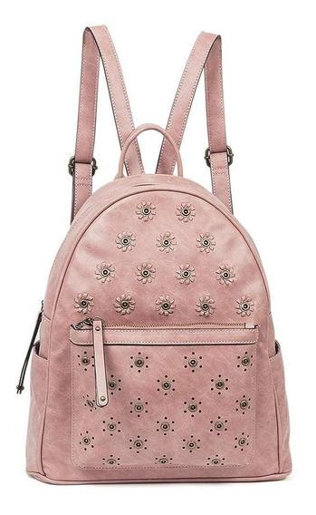 Mochilas Dama De Moda Juveniles Rosa Piel Sintetica U81500