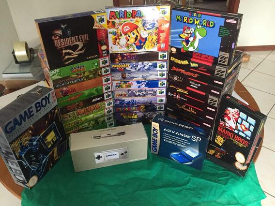Kit 5 Caixas (n64, Snes, Nes, Master, Mega, Atari, Gba E Gbc)