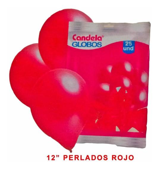 25 Globos Perlados 12 Pulgadas Rojo - Barata La Golosineria