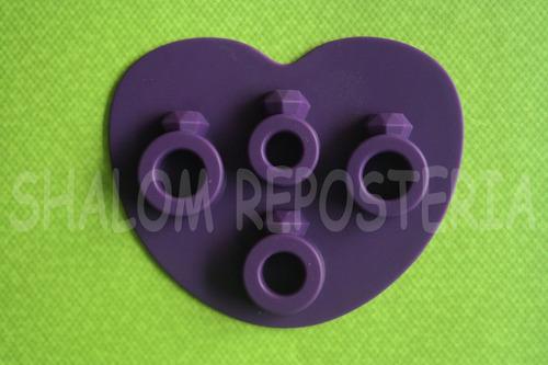 Imagen 1 de 2 de * Molde Silicon 4 Anillos Compromiso Hielo Chocolate Jabon