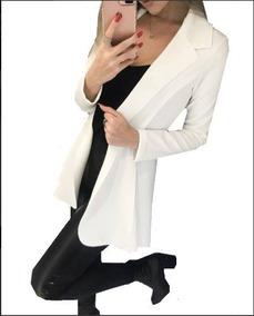 Blazer Feminino Comprido Longo Max Sobretudo Neoprene Moda