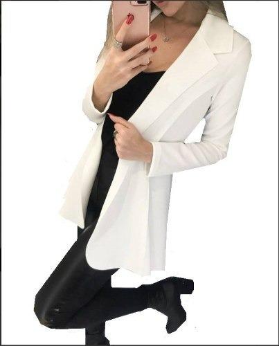 Blazer Max Sobretudo Feminino Comprido Longo Neoprene Moda Roupas Femininas
