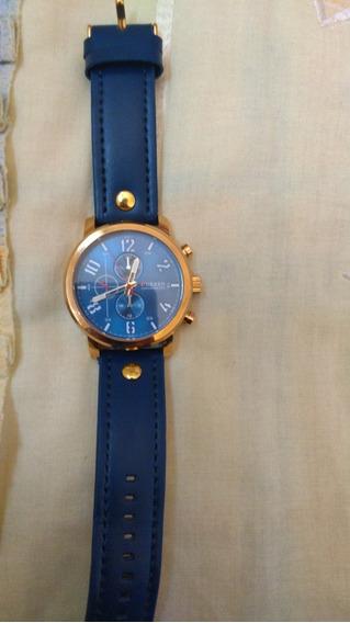 Relógio Masculino Curren 8192 Azul Dourado Pulseira De Couro