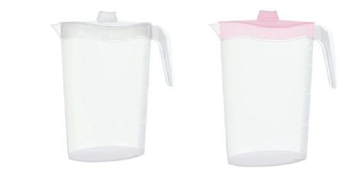 Imagem 1 de 4 de Jarra Sucos 1,8 Litros Tampas Coloridas Kit Com 2 Unidades