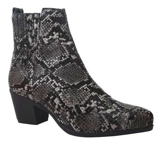 Bota Cano Curto Animal Print Croco Ankle Boot