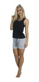 Kit 3 Pijama Curto Adulto Feminino Blusa E Short Laço Branco