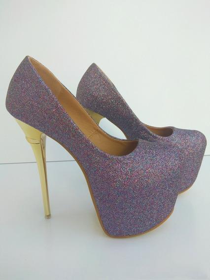 Sapato Feminino Salto Alto Importado Glitter