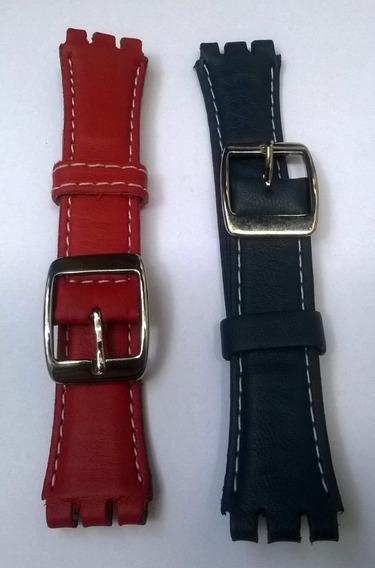 Kit 02 Pulseiras Swatch Couro Azul E Vermelha 19mm (leia)