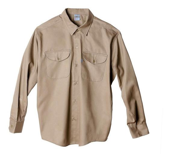 Camisa De Trabajo Ombu, Color Beige, Talle 48