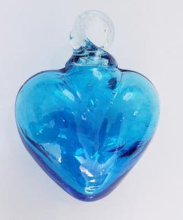 Corazón Azul Turq Vidrio Soplado Fina Artesanía Argolla 6 Cm
