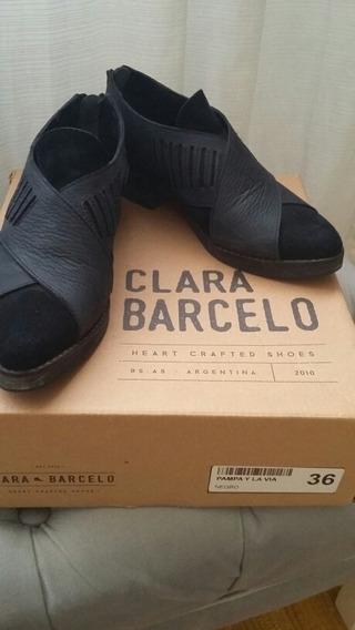 Clara Barceló Botas Cortas Cuero Y Gamuza