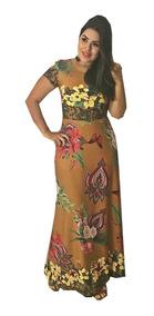 Vestido Longo Feminino Rodado Estampado Moda Evangelica