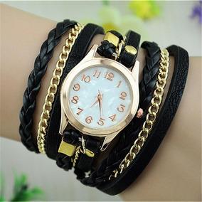 Relogio Feminino Pulseira Couro Vintage Bracelete Vintage V1