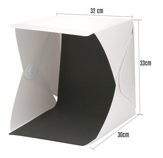 Caja De Luz Mini Estudio Fotográfico Con Luz Led 32x33cm