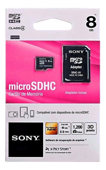 Cartão De Memória Sony Micro Sdhc 8gb Com Adaptador