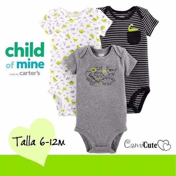 Set De 3 Bodys Para Niños Bebés Carters Talla 6-12m Oferta