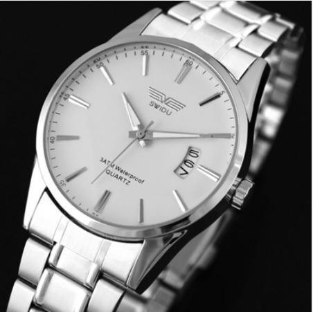 Reloj Quarzo Swidu Acero Inoxidable Silver Varios Colores