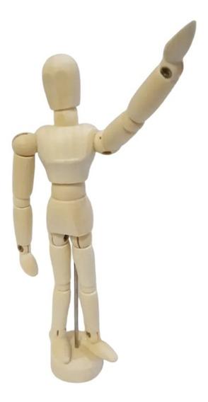 Boneco Articulado Madeira 14cm - Desenho Moda Arte Mangá