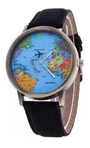 Relógio Mapa Mundi Preto Unissex Novidade Presente