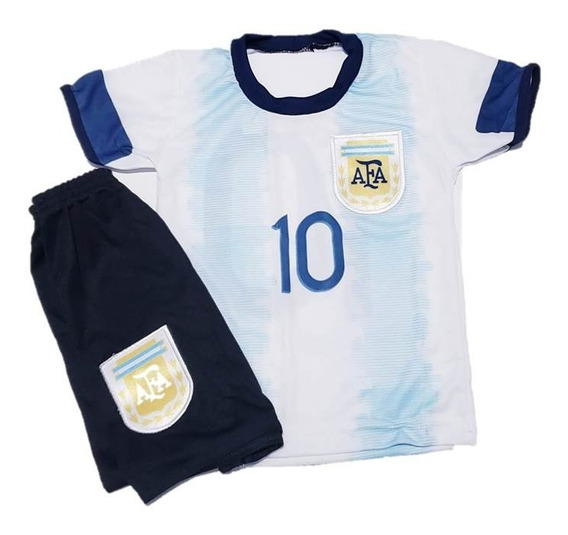 Kit Conjunto Uniforme Infantil Argentina +meião Criança
