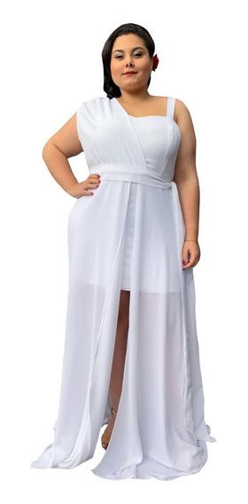 Vestido Casamento Civil Plus Size Festa Branco Estilo Deusa
