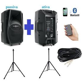 Kit Caixa Ativa + Passiva Ps10 Bluetooth Suporte Cabo 10mts