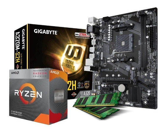Combo Actualización Amd Ryzen 3 3200g A320 Am4 8gb Ddr4 Of!!