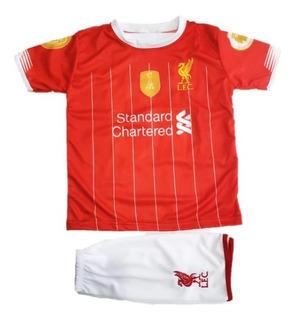 Kit Conjunto Uniforme Infantil Liverpool Vermelho Futebol