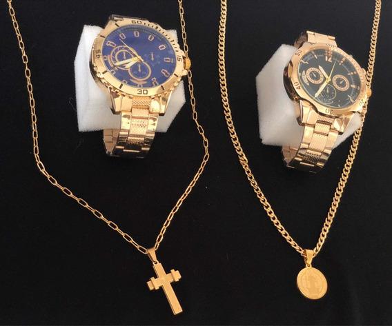 2 Relógios Masculino+2 Correntes+2 Pingentes Promoção Banhados A Ouro