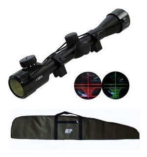 Kit Luneta Riflescope 4x32 Retículo Iluminado Capa Carabina