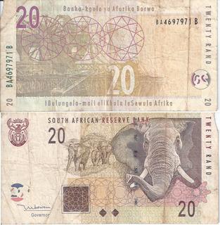 Moeda Papel Cédula Africa Do Sul 10 E 20 Rand Dinheiro