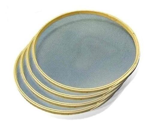 Imagem 1 de 10 de Kit 4 Peneiras Garimpo + Bateia Aço 54 Cm Ouro Diamante