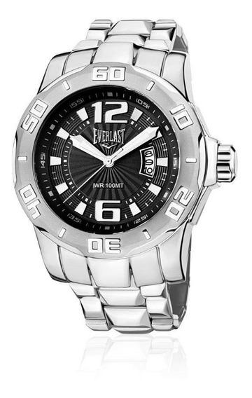 Relógio Pulso Everlast Masculino Calendário Aço Prata E664