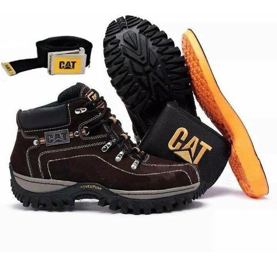 Coturno Bota Trilha Caterpillar Adventure Em Couro + Kit !!