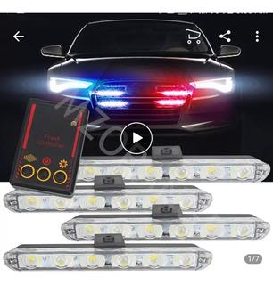 Luces Policia Estroboscopicas 4 Piezas 6 Led Cada Una