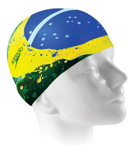 Imagem 1 de 1 de Touca Esportiva Silicone Flat Brasil Verde Speedo
