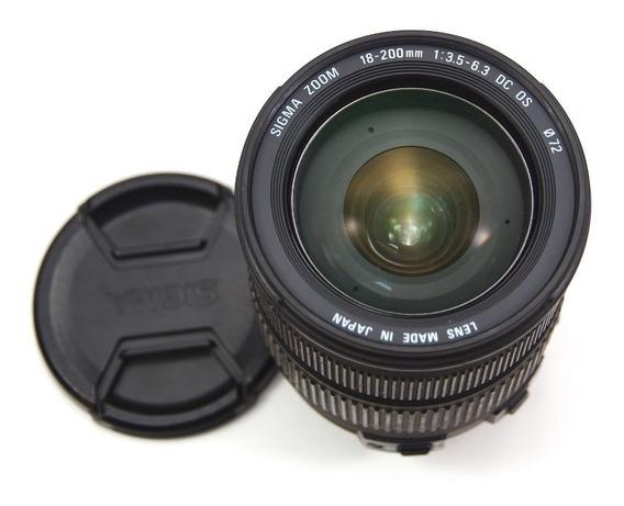 Lente Sigma 18-200mm F3.5-6.3 Dc Os Para Canon Com Parasol