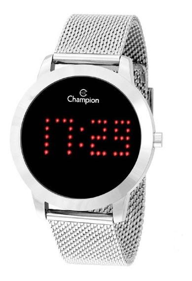 Relógio Champion Unissex Digital Led Ch40017t Prata Negativo