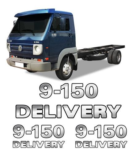 Imagem 1 de 5 de Kit Emblemas 9-150 Delivery Adesivos Caminhão Volkswagen