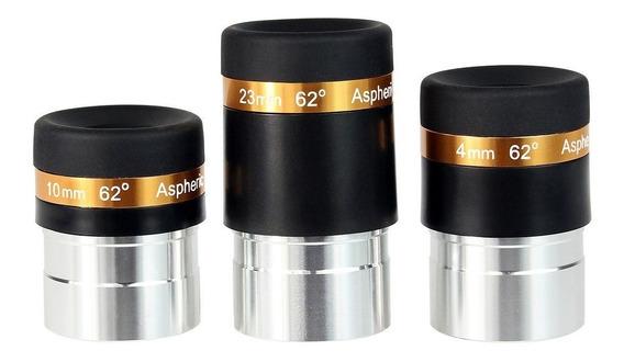 Kit Oculares Aspheric Grande Angulo 62° P/ Telescópio