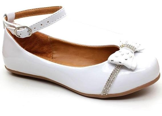 Sapato Boneca Infantil Bea Kid 07241 Verniz Branco Pixolé