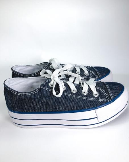Tênis Cano Curto Capricho Plataforma Jeans Denim Original