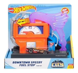 Hot Wheels Estacion De Servicio + Vehiculo Mattel Original