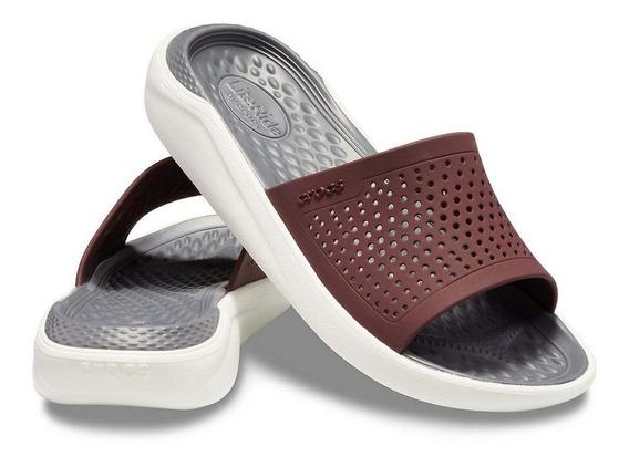 Crocs Literide Slide - Burgundy-white
