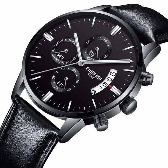 Relógio Nibosi 2309 Pulseira De Couro Social Funcional Prova D