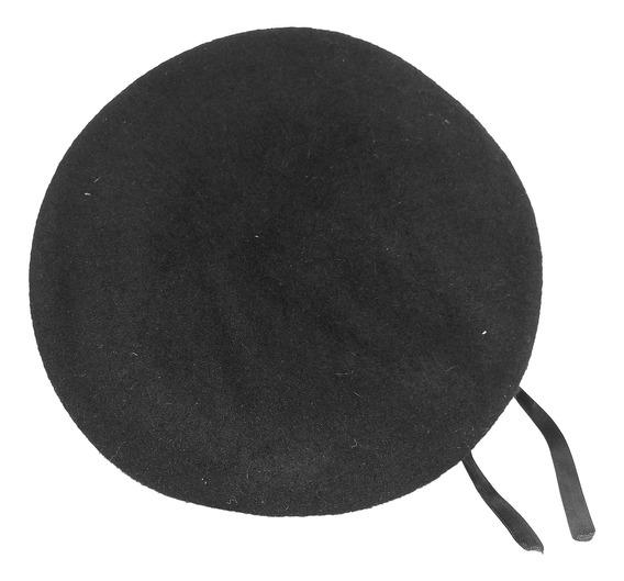 Boina Militar De Lana Negra Con Broches