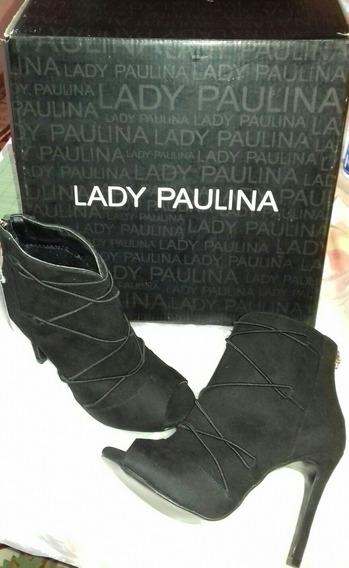 Zapatos Negros Nuevos Lady Paulina Del# 24.5 Gamuza Oferta!!
