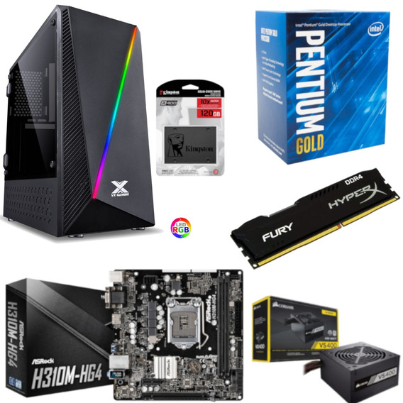 Pc Pyxis Pentium G5400 H310m Hg4 Hx 8gb Vs400 Ssd 120gb