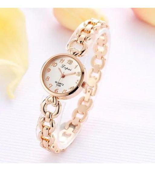 Relógio Quartzo Lvpai Feminino Moda Design Pulseira Aço